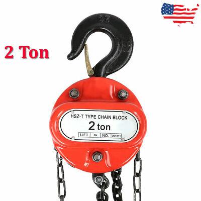 2 Ton Chain Hoist Block Winch Capacity Manual Lift Puller Fall Hand Tools W.hook