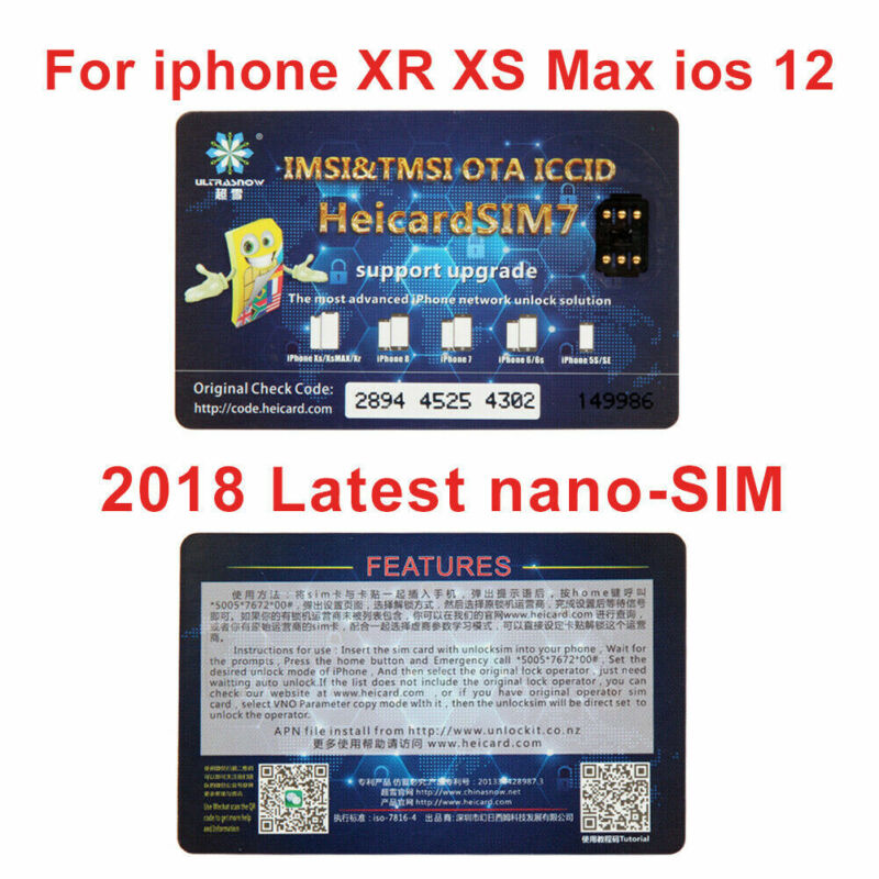 Nano-SIM Unlock Card Heicard Sim Chip For iPhone XR XS Max iOS 12 GPP Lot