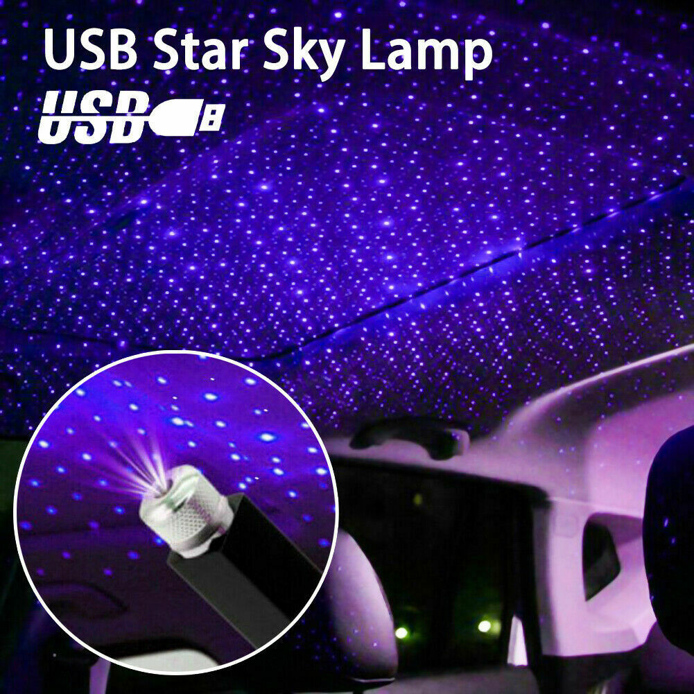 USB Car Atmosphere Starry Sky Lamp Interior Ambient Star Light LED Projector USA