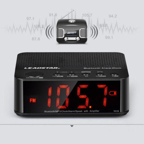 2IN1 Bluetooth LED Wireless Speaker Mic Alarm Clock TF FM Radio MP3 Music Player