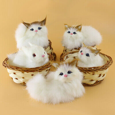 Lovely Simulation Plush Animal Doll Mini Basket Cat Rabbit Dog Kids Xmas Toy US Baby