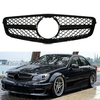 AMG Style Mesh Grille For 07-14 Mercedes-Benz W204 C-Class C280 C300 Gloss Black
