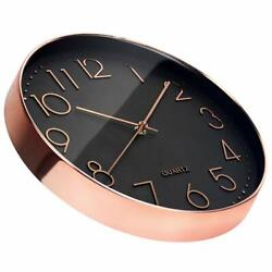 Rose Gold 12 In Wall Clock Silent No Ticking Quartz Clock Battery Operated Round