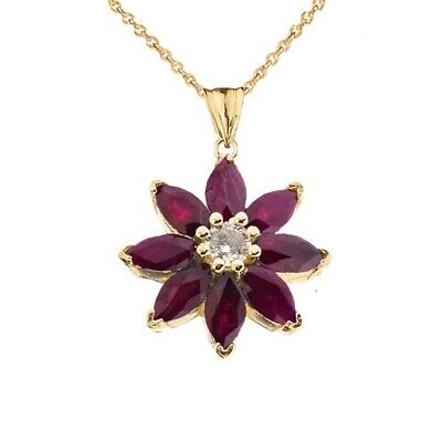 Solid Gold 10k/14K Ruby and Diamond Daisy  Pendant Necklace -