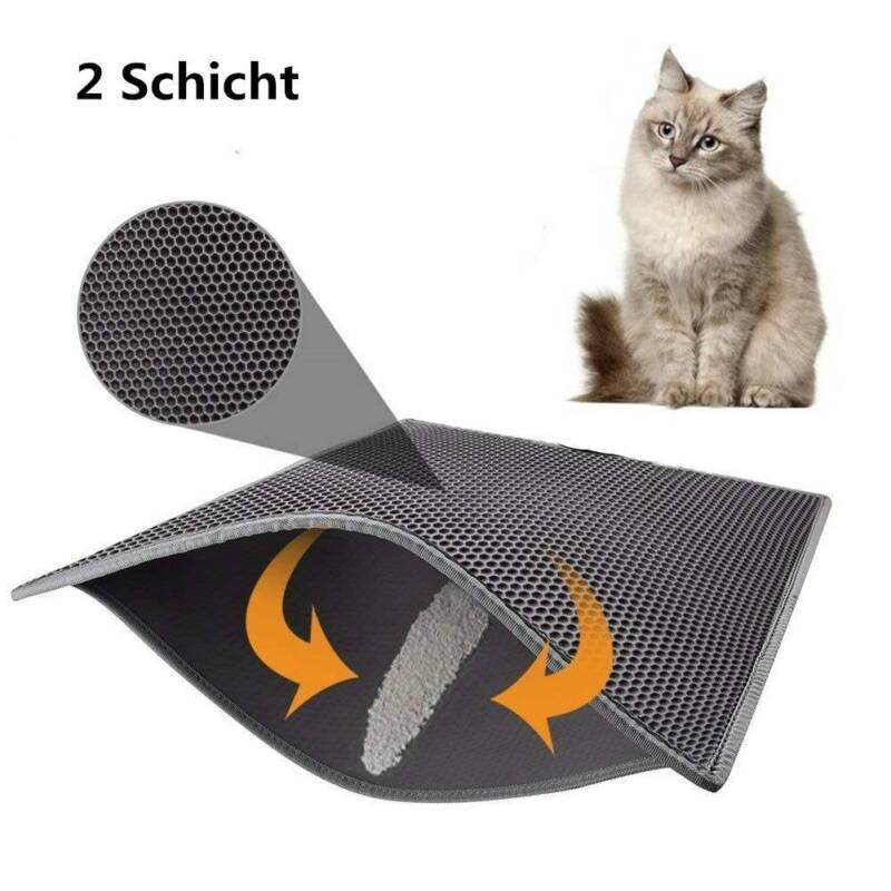 2 Schicht Katzenklo Katzenstreu Matte Vorleger Unterlage Rutschfest Wasserdicht.