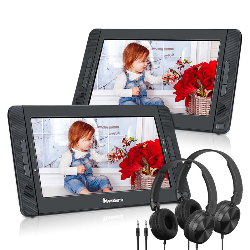 """2 x 10.1"""" Car DVD Player Headrest Monitor AV-IN OUT USB Battery with Headphones"""
