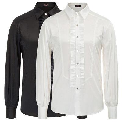 Mens Gothic Shirt Top Victorian Ruffle Collar Punk Long Sleeve Retro Fashion New](Ruffle Shirt Mens)