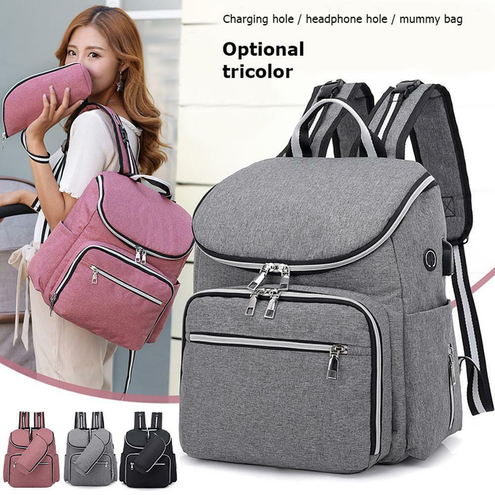 Multi-Function Baby Diaper Nappy Mummy Changing Bags Portable USB Backpack Bag