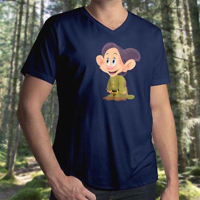 Snow White and the Seven Dwarfs Dopey Disney Tee Mens Unisex V-Neck T-Shirt