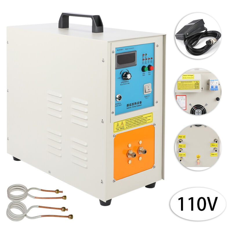 15KW 2200 ℃ (3992 ℉) 30-100 KHz High Frequency Induction Heater Furnace 110V