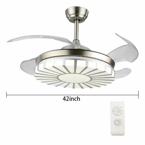 Invisible Crystal Fan Light Lamp Ceiling Light 4 Blades 3 Speed +Remote Control 2