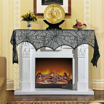 Halloween Mantel Scarves (Halloween Fireplace Mantel Polyester Scarf Home Decorations Black Lace)