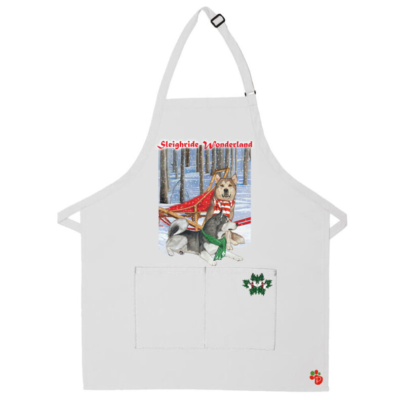 Alaskan Malamute Dog Christmas Apron Two Pocket Bib Apron with Adj Neck