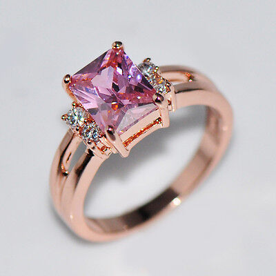 (Size 5-10 Pink Sapphire CZ Engagement Ring 10KT Rose Gold Filled Women's Jewelry)