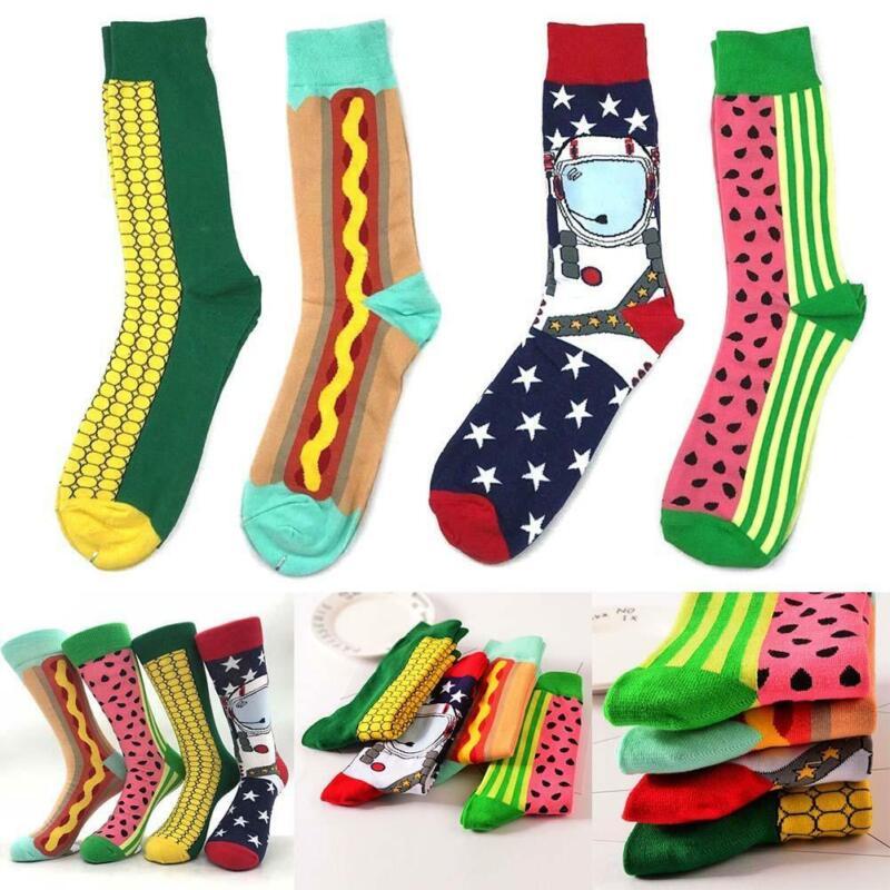 Mode Männer Happy Socks Lustige Socken Baumwolle Tier Obst Vogel Casual 77 L3E6