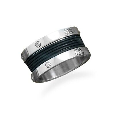 Screw Design Band Ring Mens Sizes 8-13 With Black Center 316L Surgical Steel