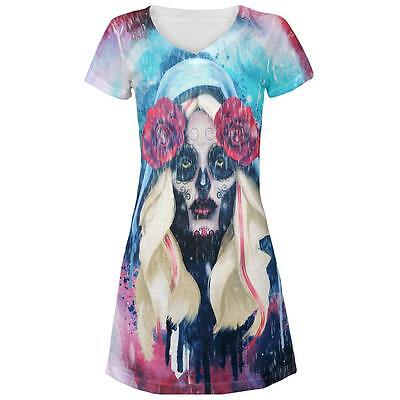 Halloween Day of the Dead Sugar Skull Girl Rain Juniors Beach Cover Up Dress
