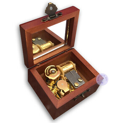 """Play """"Canon in D Major"""" Antiqued Wooden Music Box With Sankyo Musical Movement"""