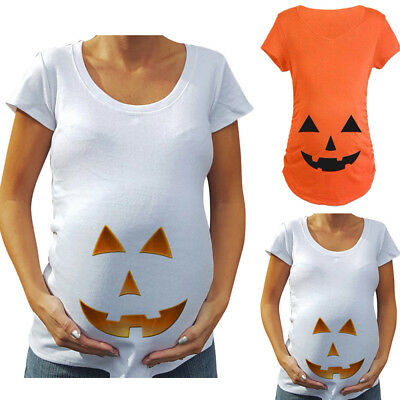 Pregnant Maternity Women Halloween Pumpkin Carved Face T-shirt Pregnancy Tops US - Maternity Halloween Top