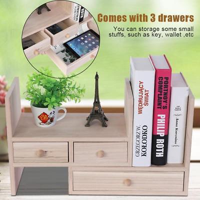 Wooden Desktop Bookcase Book Shelf Organizer With Drawer Home Office Storage