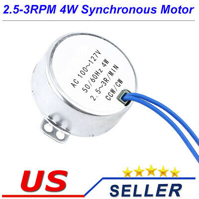Ac110v Gear Synchronous Motor 2.5-3rpm One Side Flat Shaft Diy Machine Parts