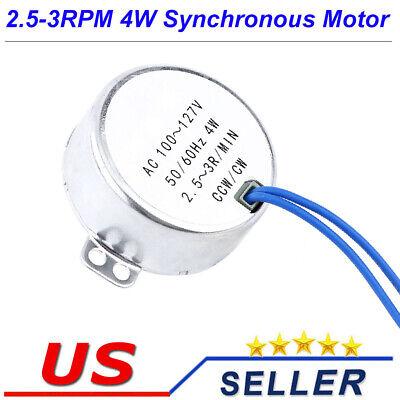 Ac110v Gear Synchronous Motor 2.5-3rpm One Side Flat Shaft Diy Machine Parts
