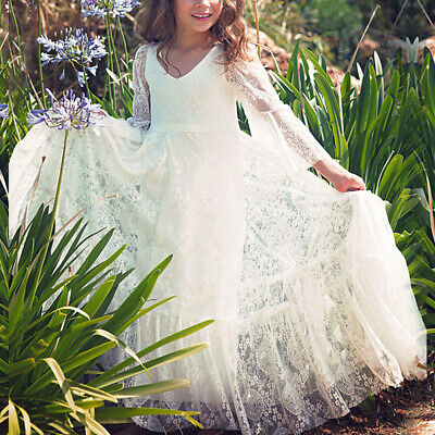 Vintage Lace Flower Girl Wedding Party Maxi Dress Boho Rustic Country Dresses (Vintage Flower Girl Dresses Lace)