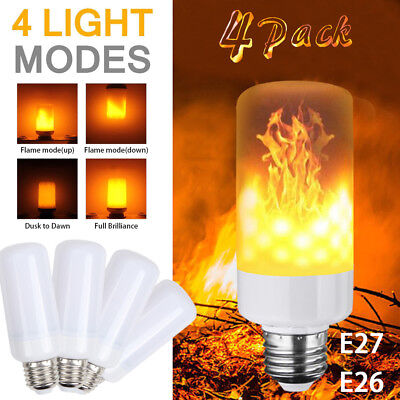 (4 Pack LED Flame Effect Simulated Nature Fire Light Bulb E27 5W Decoration Lamp)