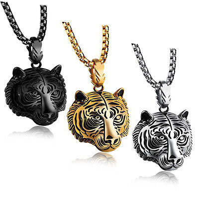 Men's Punk Stainless Steel Animal Tiger Head Shape Pendant Chain Necklace 24