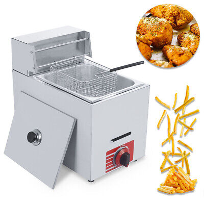 Commercial Countertop Gas Fryer 10l 1 Basket Gf-71 Propane Lpg Wmetal Tube