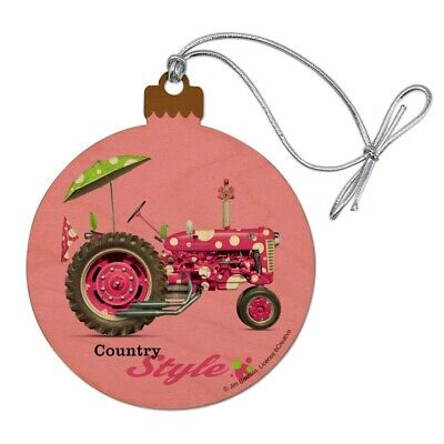 Farm Tractor Country Style Pink Farming Wood Christmas Tree Ornament ()