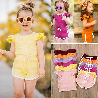 US Newborn Kid Baby Girl Summer Outfit Clothes Set T-shirt Top Pants Shorts 2PCS