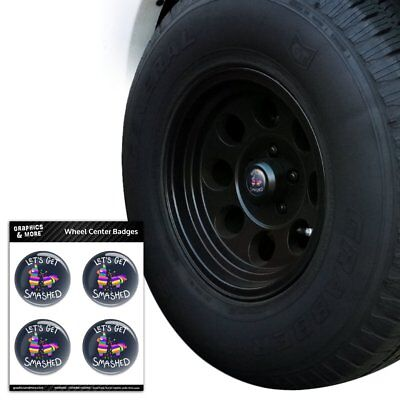 Let's Get Smashed Pinata Drinking Funny Tire Wheel Center Cap Badge Stickers - Tire Pinata