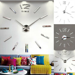 Large Wall Clock Big Watch Decal 3D Stickers Mirror Design DIY Wall Modern Home