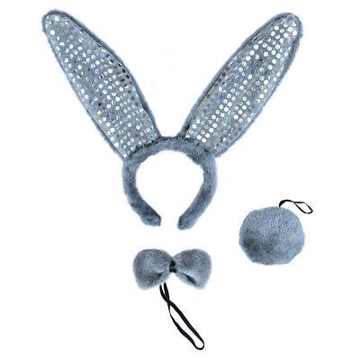 Gray Plush Sequin Bunny Ears Tail & Bow Tie Costume Set ~ HALLOWEEN RABBIT - Gray Bunny Ears