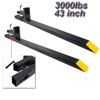 3000lbs Capacity 43 Lw Clamp On Pallet Forks For Loader Bucket Tractor Chain Hd