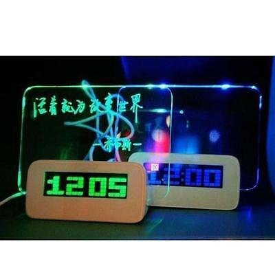 Multifunction LED Fluorescent Message Board Digital Alarm Clock with Calendar LJ