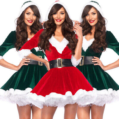 Miss Claus Dress (Miss Mrs Santa Claus Deluxe Adult Womens Ladies Christmas Fancy Dress Outfit)