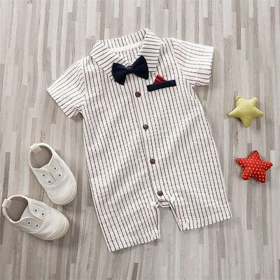 US Gentlemen Baby Boy Newborn Bowtie Stripe Romper Bodysuit Outfits Clothes Set