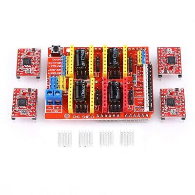 Cnc Shield V3 Expansion Board 4pc A4988 Driver 4 X Heat Sinks For 3d Printer