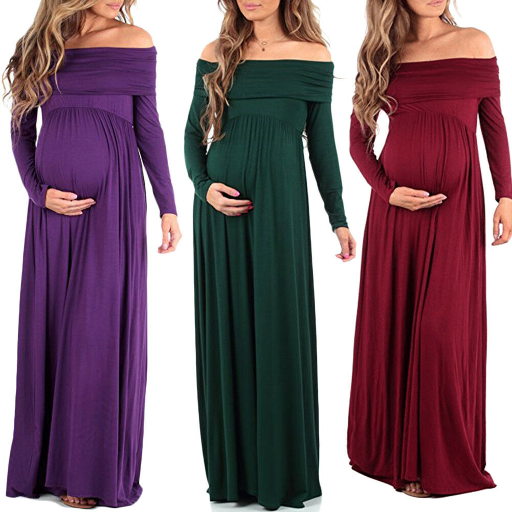 546cb3536a560 Details about Pregnant Off Shoulder Long Sleeve Evening Dress Maternity  Gown Photography Props
