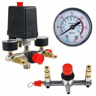 Air Compressor Pump Pressure Switch Control Valve Regulator Gauges Set 90-120psi