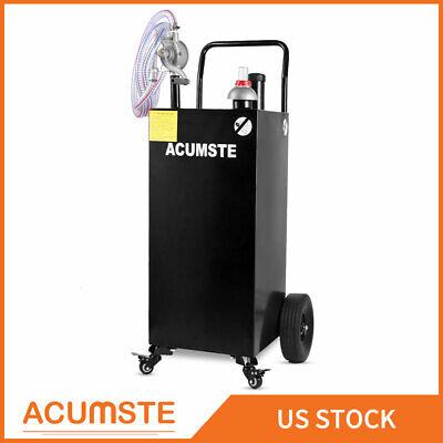 30 Gallon Gas Fuel Diesel Caddy Gasoline Tank W Rotary Pump And Wheels Black