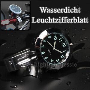 Universal Motorrad Lenker Uhr Motorraduhr 7/8'' 1'' Wasserdicht Nacht Für Halley