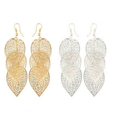 Women's Hollow Three Leaf Drop Dangle Hook Earrings Party Wedding Jewelry New