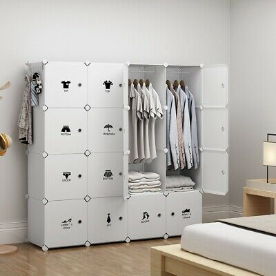 Portable Wardrobe Storage Closet Plastic Armoire, White, 4x4 Tiers, 18