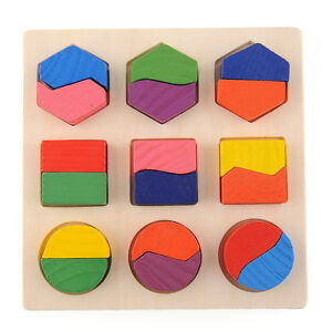 Wooden Geometry Block Puzzle Montessori Educational Preschool Toy Children Kid