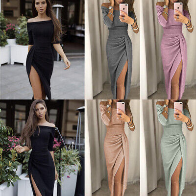 Womens Boho Long Maxi Dress Evening Cocktail Party Prom Gown Dresses Sundress (Long Eve Gown Dress)