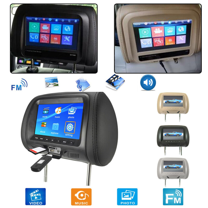 "7"" HD Car Digital Headrest Monitor USB TV IR SD Video HDMI Game DVD Player"