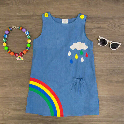 Baby Girl Rainbow Dress (USA Toddler Kids Baby Girl Summer Top T-shirt Skirt Dress Rainbow Outfit)